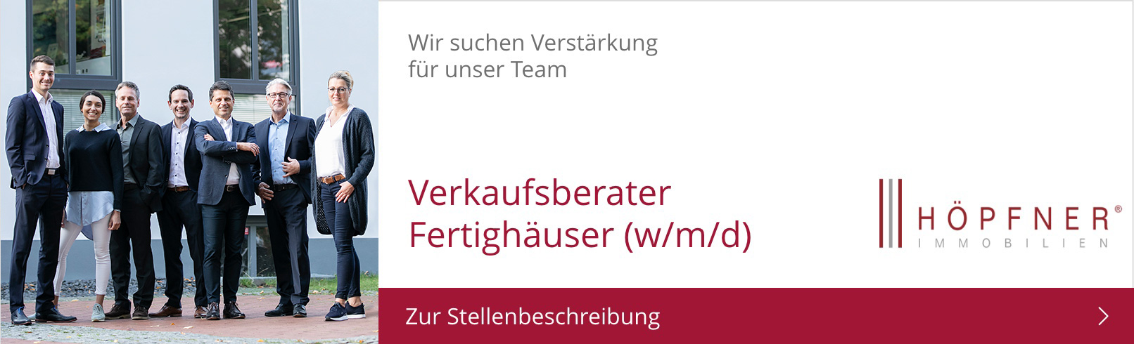 Banner Vakanz Verkaufsberater Fertighäuser
